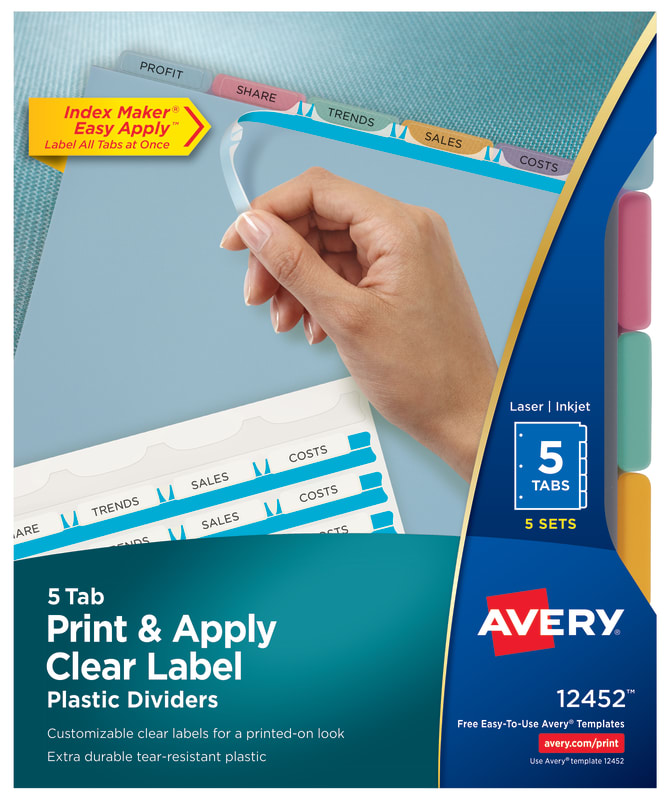 Avery Print Apply Plastic Dividers 5 Sets Multicolor 12452
