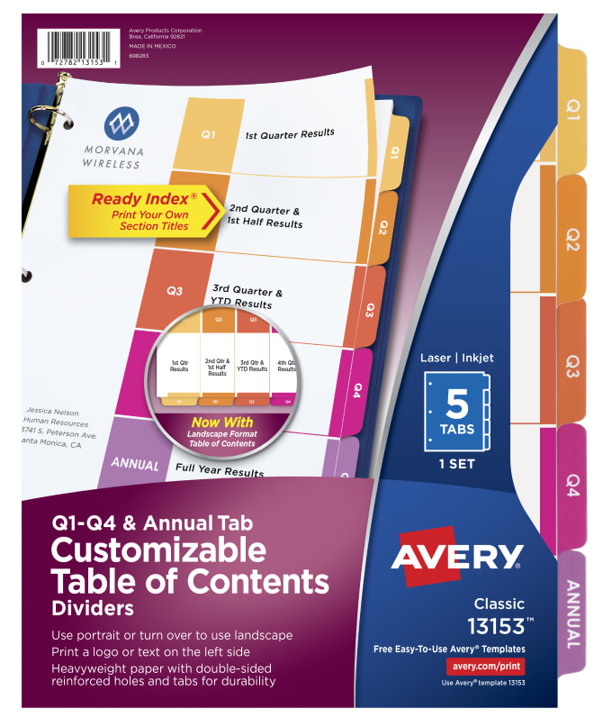 Avery Customizable Table of Contents Quarterly Dividers 5-Tab Set ...