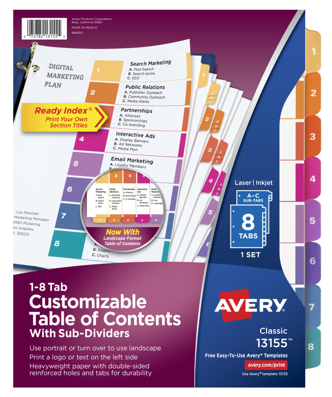 Avery Customizable Table Of Contents Dividers With Sub Dividers
