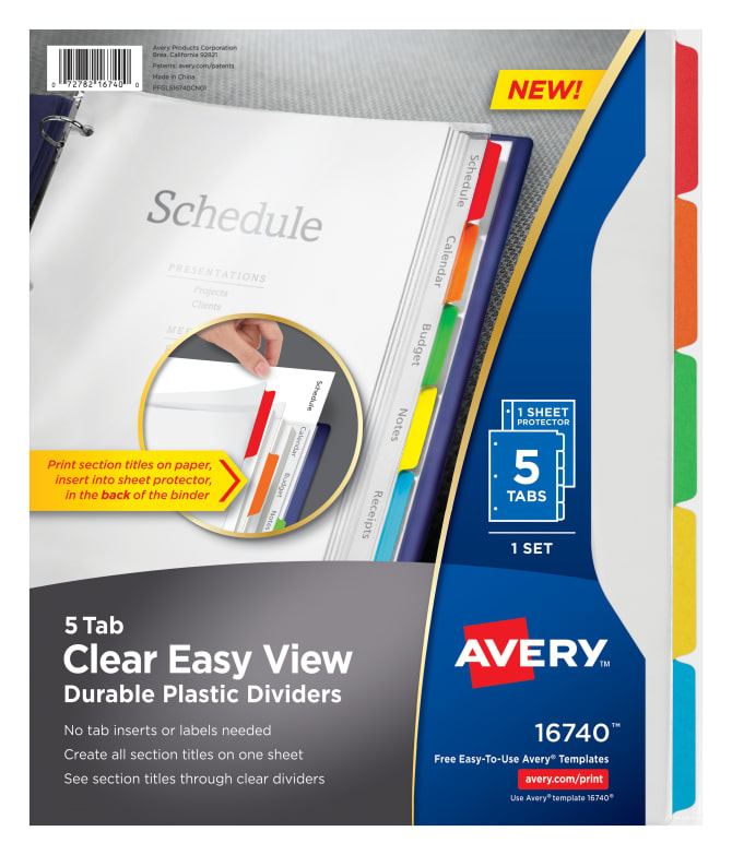 Avery easy view durable plastic dividers clear 16740 avery pronofoot35fo Image collections