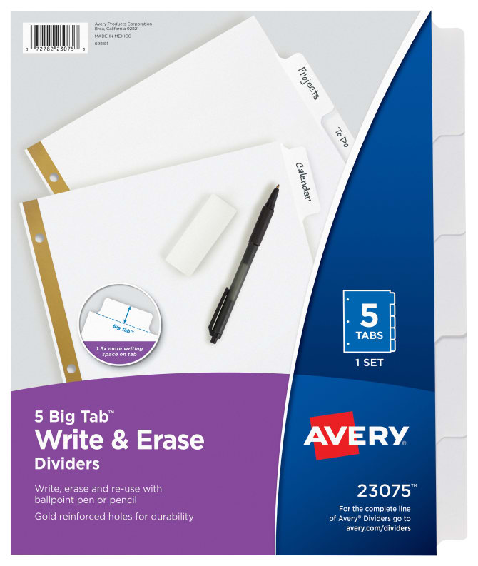 Avery big tabtrade write erase dividers 5 tab set 23075 avery big tabtrade write erase dividers 5 tab set 23075 avery pronofoot35fo Images