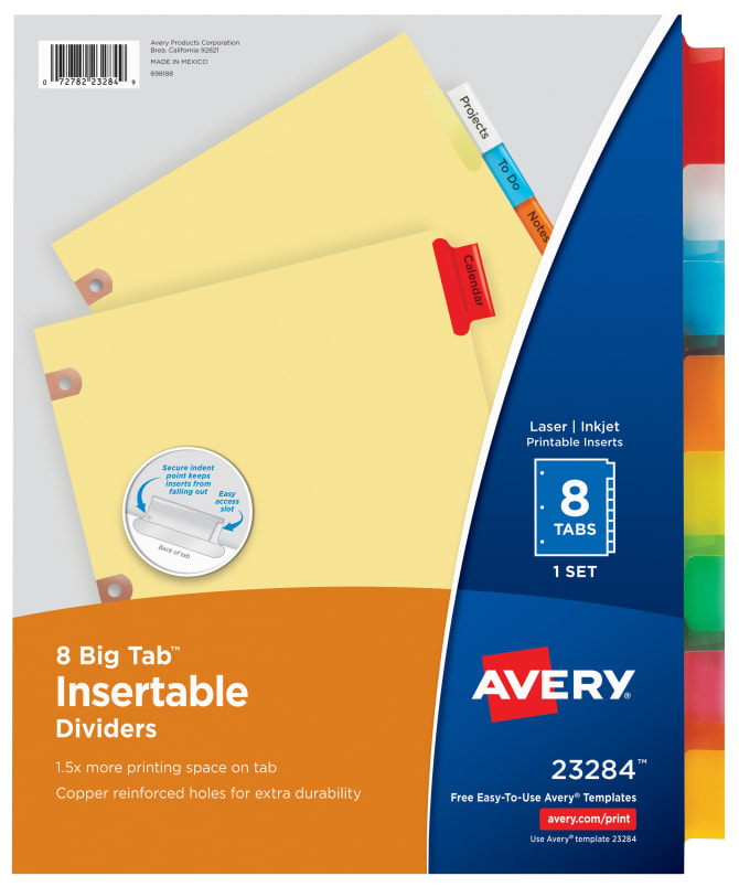 Avery Big Tab Insertable Dividers 8 Tab Set Multicolor 23284