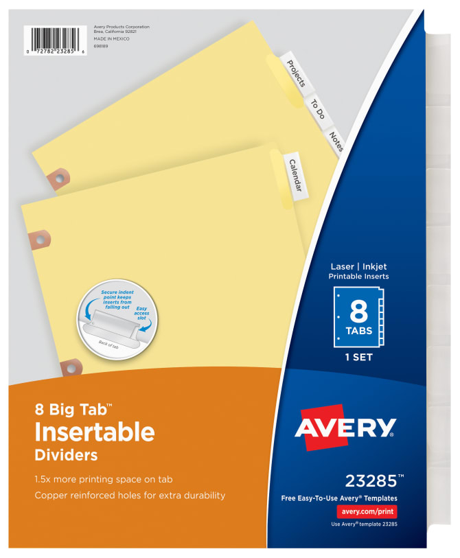 Avery Big Tab Insertable Dividers Clear Tabs 8 Tab Set 23285