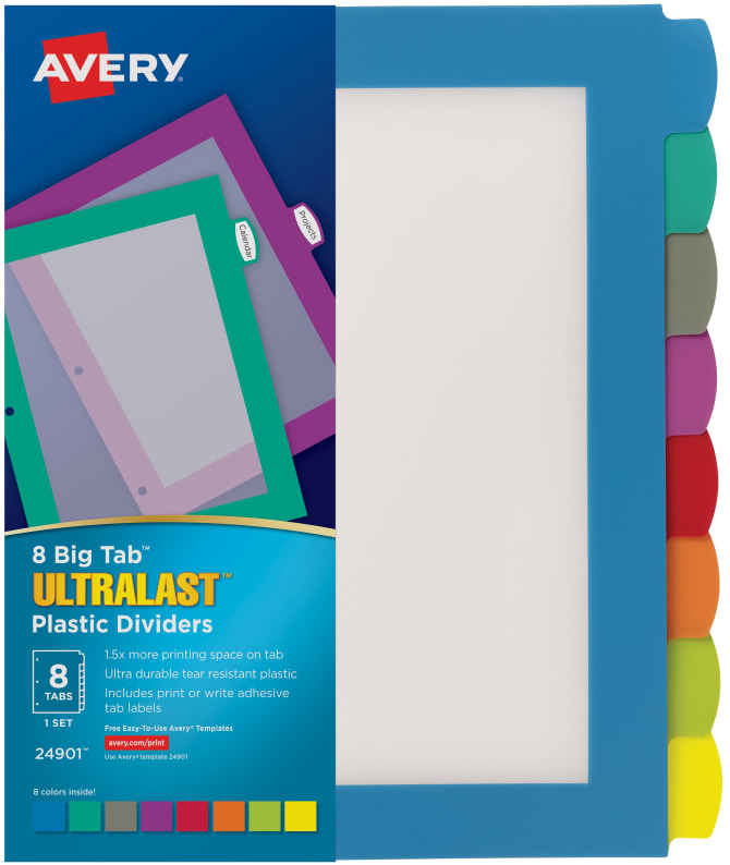 Avery Ultralast Big Tab Plastic Dividers Multicolor - Avery print on tabs template