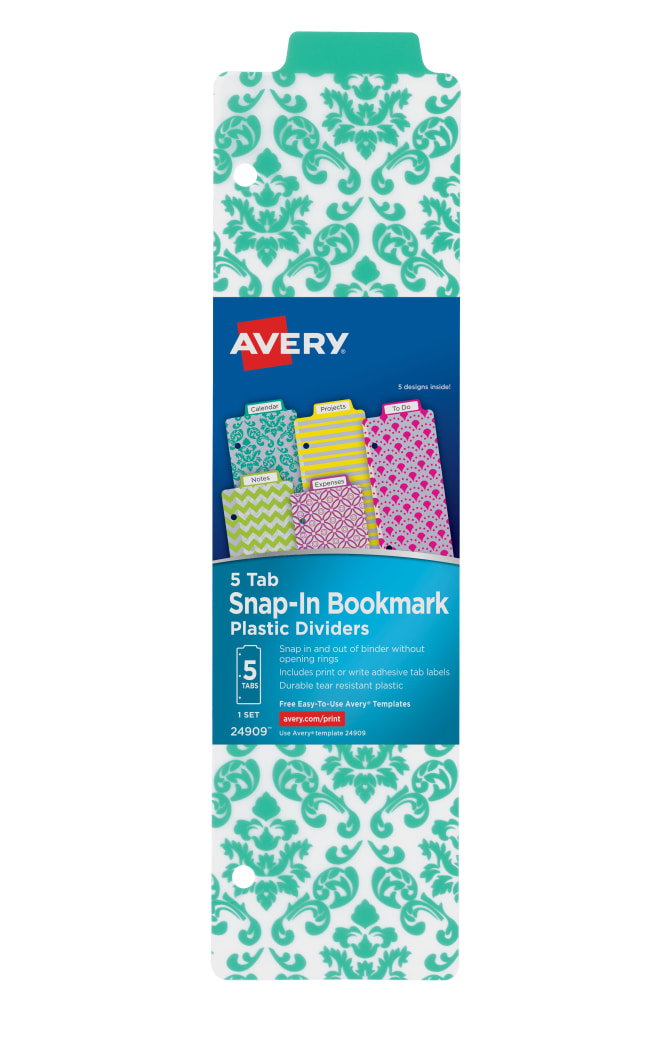 Avery Snap In Plastic Bookmark Dividers Assorted Designs 24909