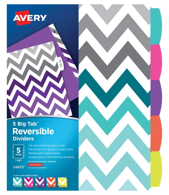 Avery Big Tab Reversible Fashion Dividers 5 Tab Set 24975 Avery