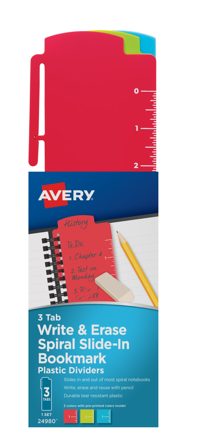 avery spiral slide in plastic bookmark dividers 3 tab set assorted