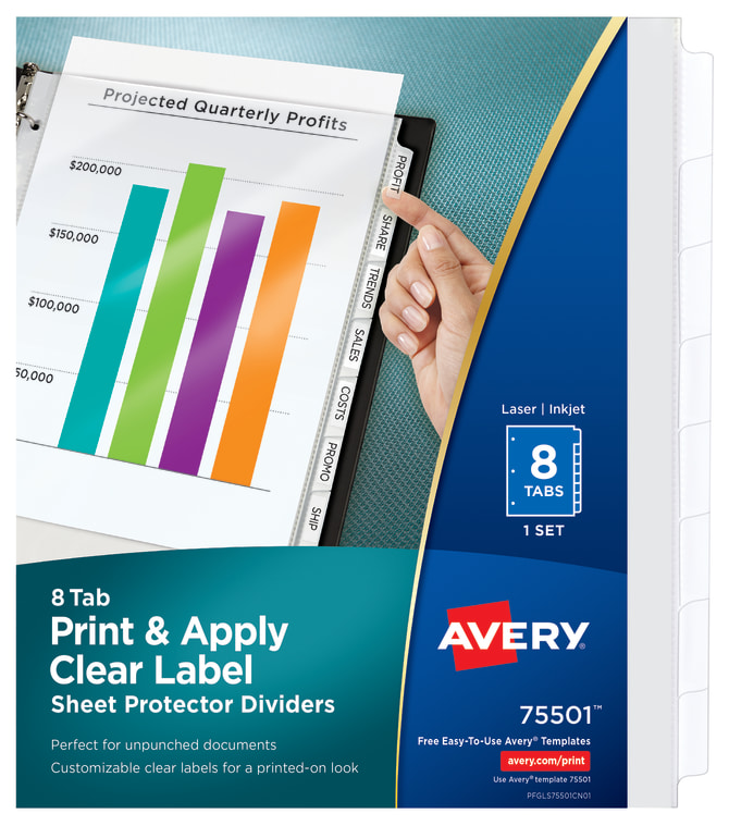 Avery Print Apply Pocket Dividers Index Maker Easy Apply Clear