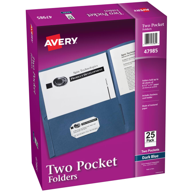 25-Pack Dark Blue EZ-32523 FILE-EZ Two-Pocket Folders Letter Size Textured Paper