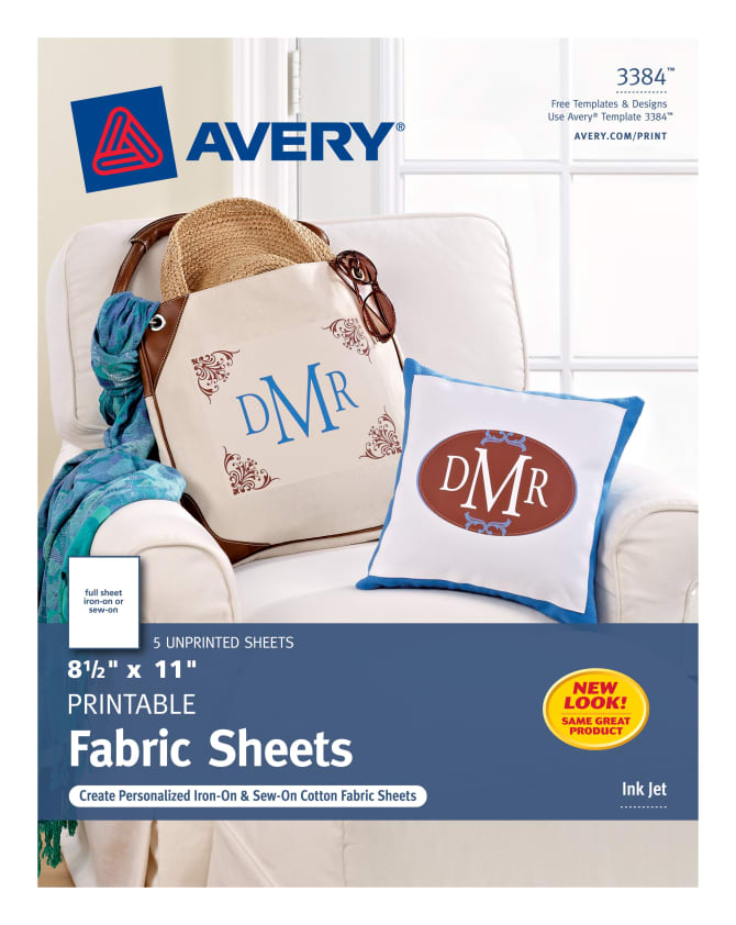 Avery Printable Fabric Pack Of 5 3384 Avery Com