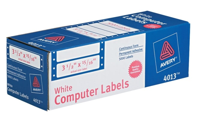 Avery Continuous Form Computer Labels 3 12 X 1516000 Labels