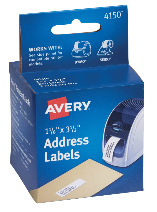 Avery® Address Labels for Dymo®, Seiko® and Zebra Printers, Permanent  Adhesive, 1-1/8