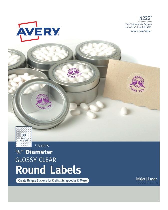 avery round labels glossy clear pack of 400 4222 avery com