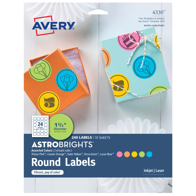 avery astrobrights color round labels 4330 avery com