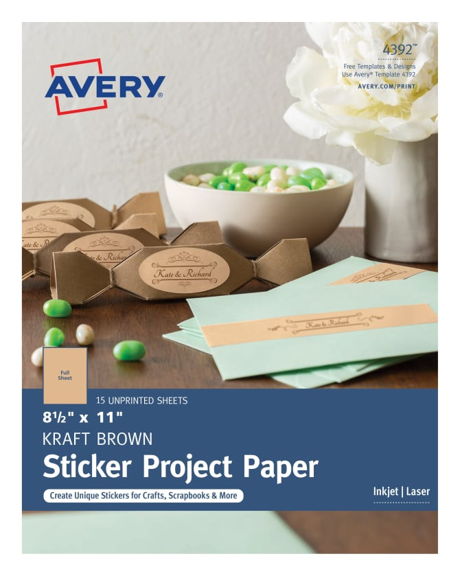 Avery Sticker Project Paper Kraft Brown 15 Labels 4392 Avery