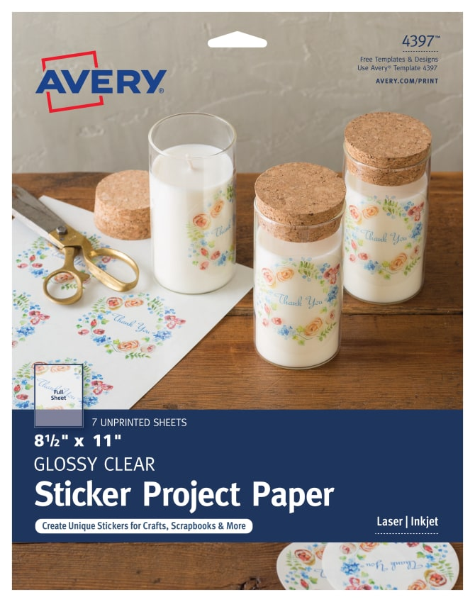 avery sticker project paper glossy clear 7 labels 4397 avery com