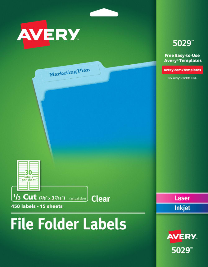 Avery File Folder Labels Clear 450 Labels 5029 Avery