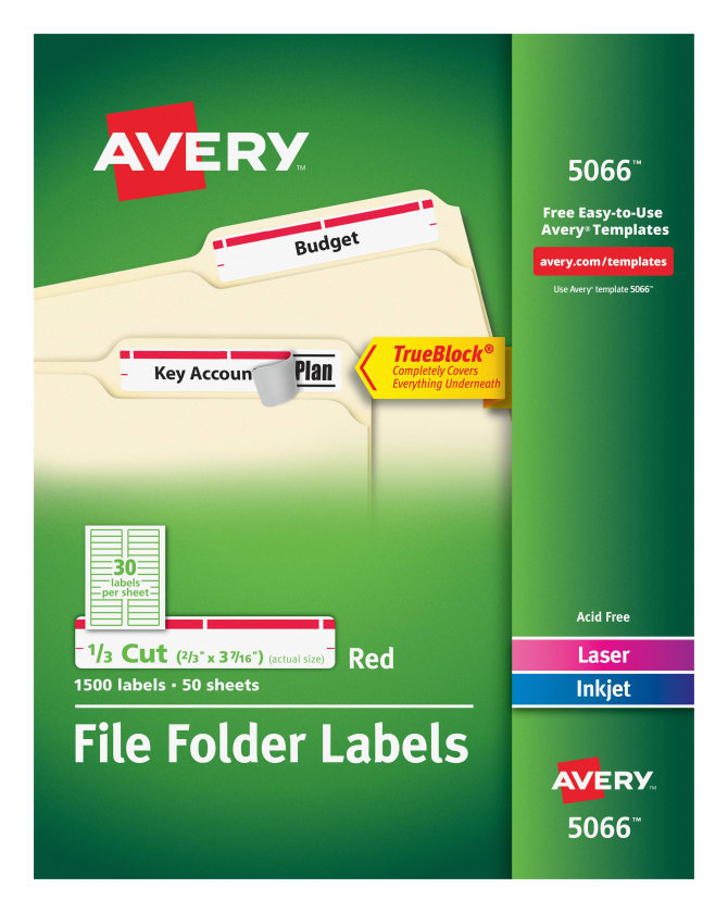 Avery File Folder Labels Red 1500 Labels 5066 Avery