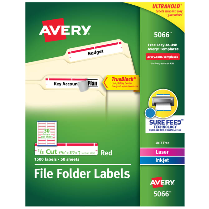 Avery® TrueBlock® File Folder Labels, Sure Feed™ Technology, Permanent  Adhesive, Red, 2/3