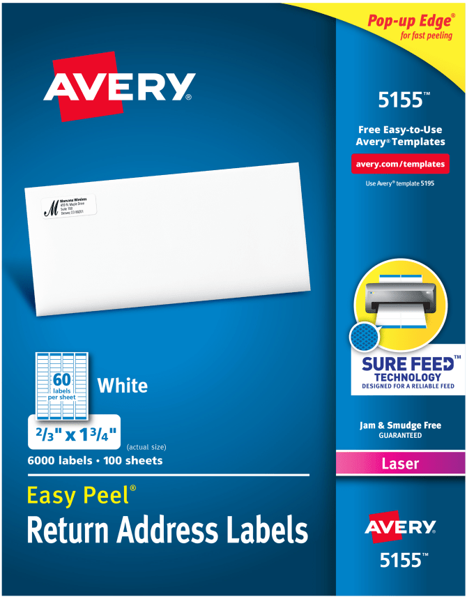 Avery Easy Peel Return Address Labels 23 X 1 34 6000 Labels