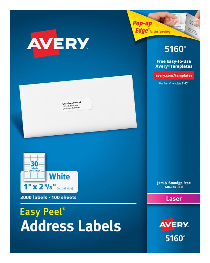 Avery 5160 Easy Peel Address Labels 1 X 2 58 3000 Labels Avery