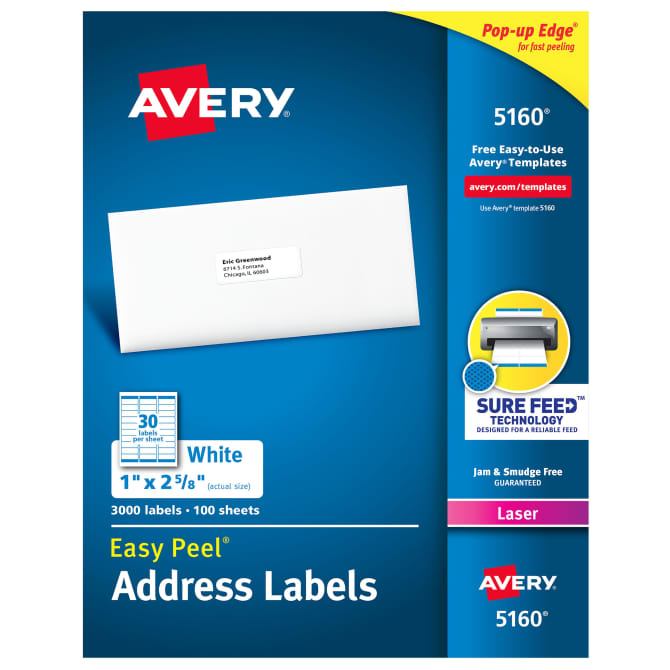 Avery 5160 Easy Peel Address Labels 1 X 2 5 8 3 000 Labels