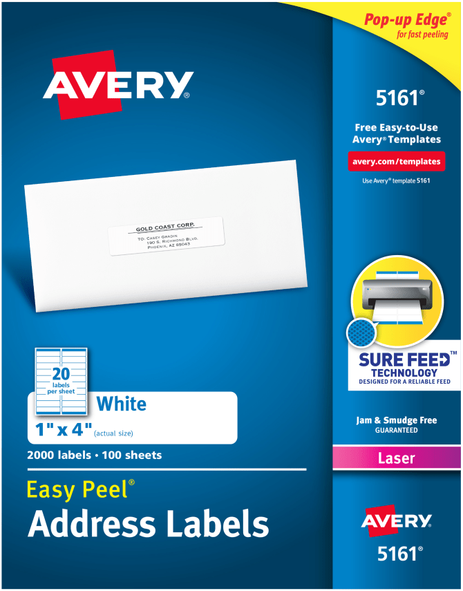 Avery Easy Peel Address Labels 1 X 4 2000 Labels 5161 Avery
