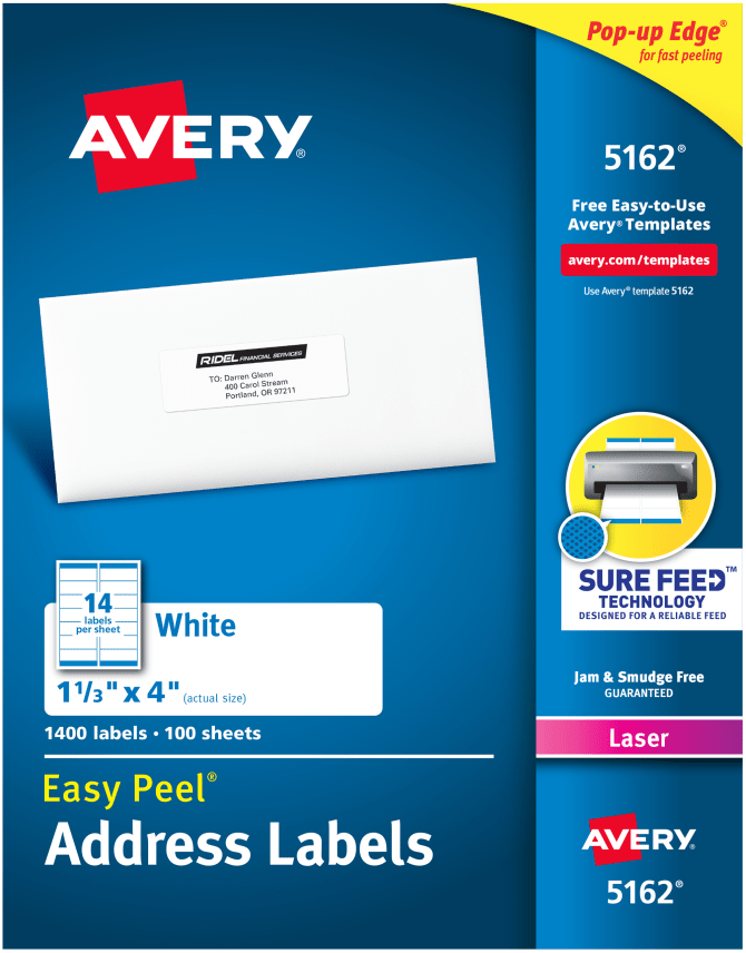 Avery Easy Peel Address Labels 1 13 X 4 1400 Labels 5162