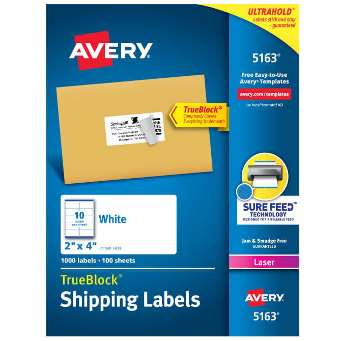 Printed Business Shipping Stickers 1-Color 1,000 Custom Mailing Labels Print Your Logo or Text