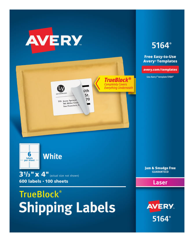 Avery Shipping Labels Permanent Adhesive 600 Labels 5164 Avery