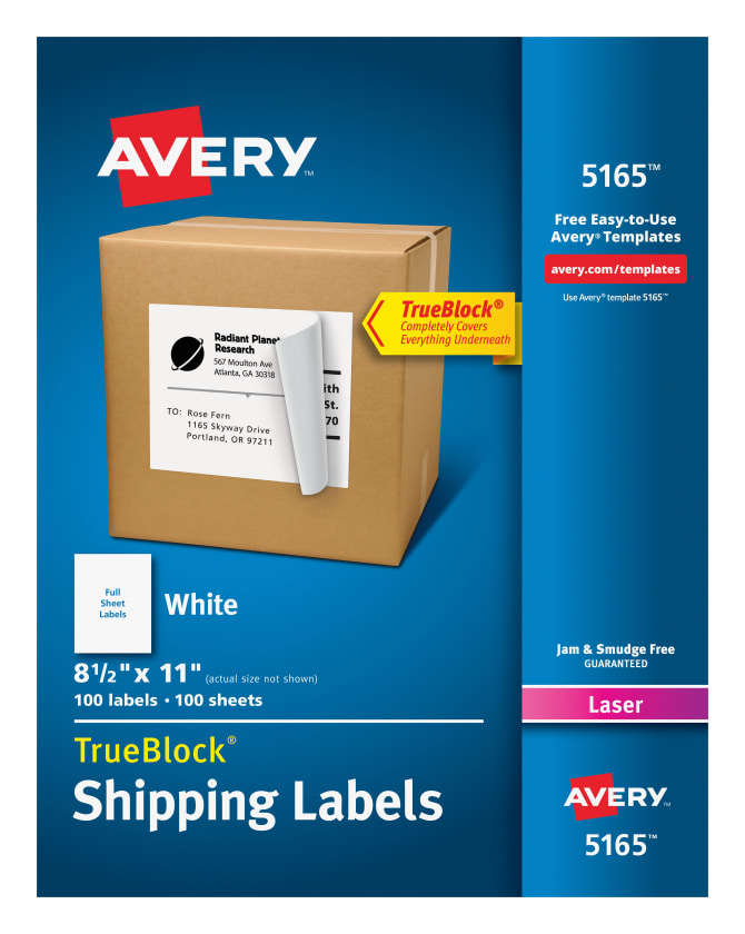 Avery 5165 Shipping Labels Permanent Adhesive 100 Labels Avery