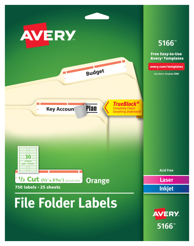 Avery File Folder Labels 23 X 3 716 750 Labels 5166 Avery