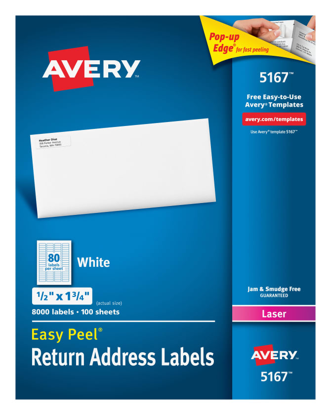 Avery Easy Peel Return Address Labels 12 X 1 34 8000 Labels