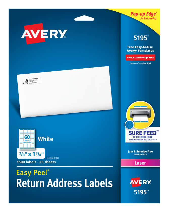 Avery Easy Peel Return Address Labels 23 X 1 341500 Labels