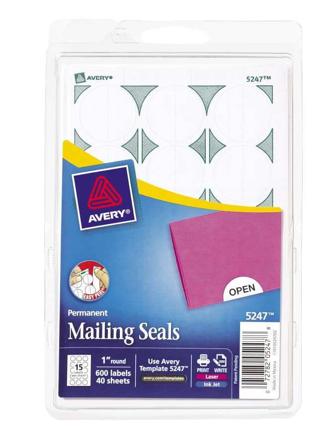 Avery mailing seals 1quot diameter 600 labels 5247 avery pronofoot35fo Images