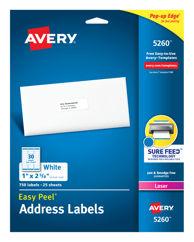 Avery Easy Peel Address Labels 1 X 2 58 750 Labels 5260