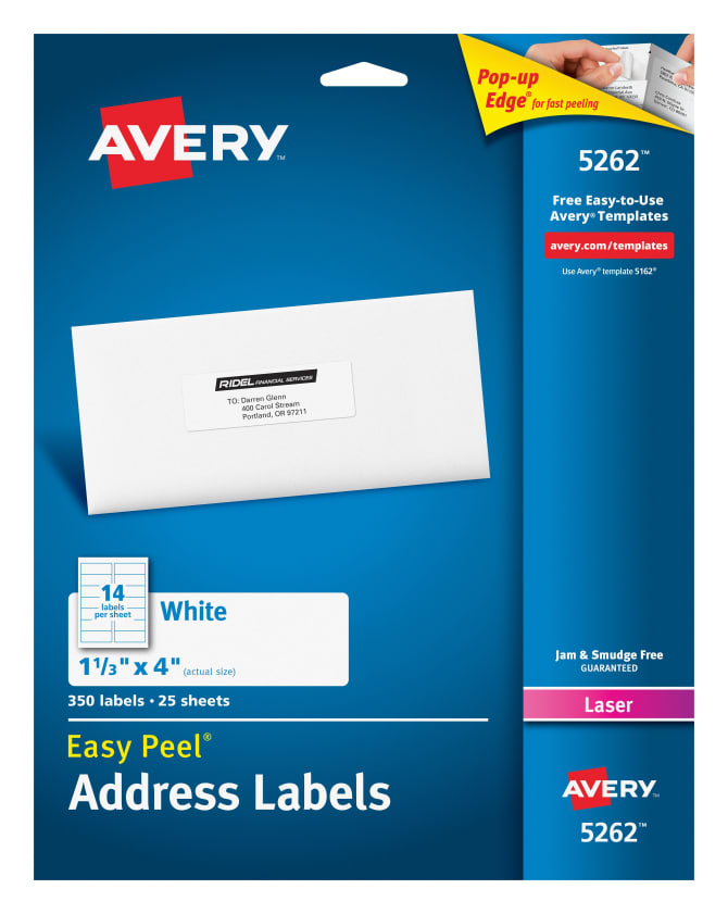 Avery Easy Peel Address Labels 1 13 X 4 350 Labels 5262