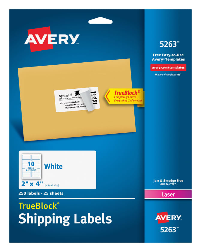 Avery Shipping Labels Permanent Adhesive 250 Labels 5263 Avery