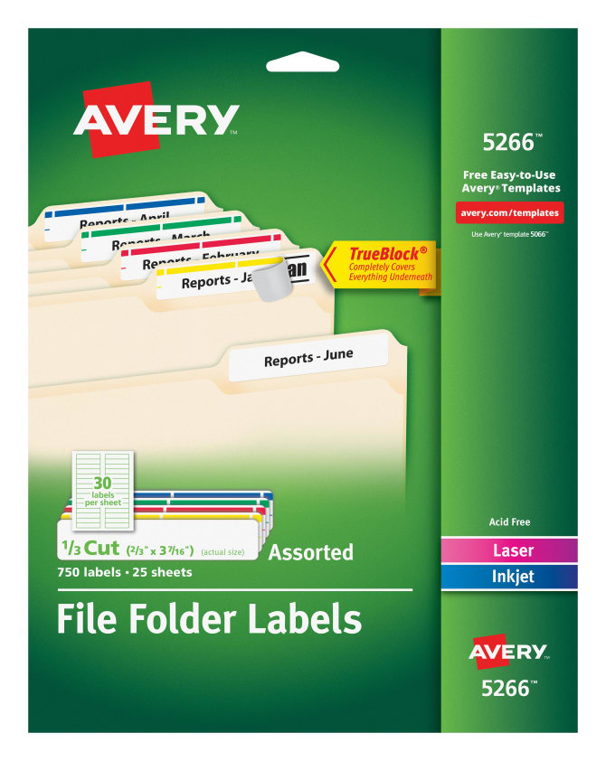 Avery File Folder Labels Assorted Colors 750 Labels 5266 Avery