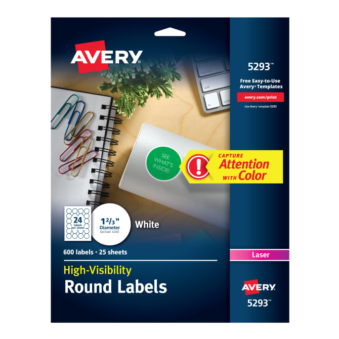 Avery High Visibility Labels 1 23 Diameter 600 Labels 5293
