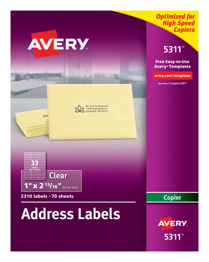 Avery Address Labels For Copiers Clear 2310 Labels 5311 Avery