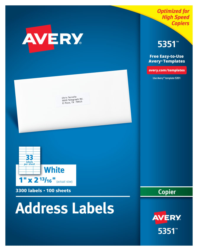 Avery Address Labels For Copiers 1 X 2 13163300 Labels 5351