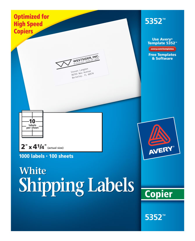 Avery shipping labels for copiers 2 x 4 14 1000 labels 5352 avery shipping labels for copiers 2 x 4 14 1000 labels 5352 avery saigontimesfo