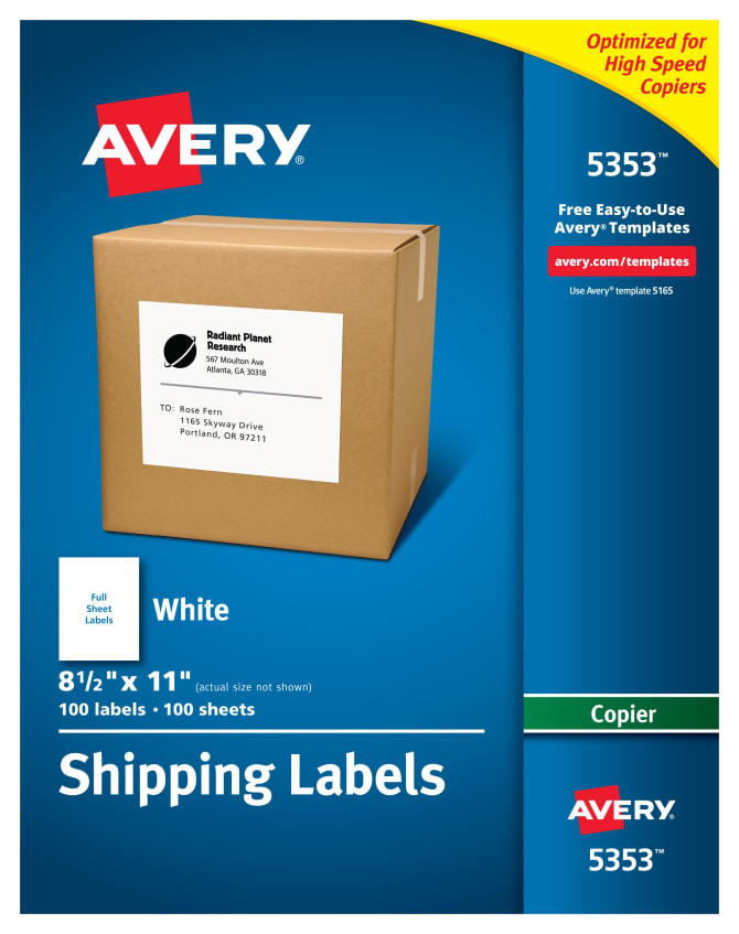 avery labels for copiers 8 1 2 x 11 100 labels 5353 avery com