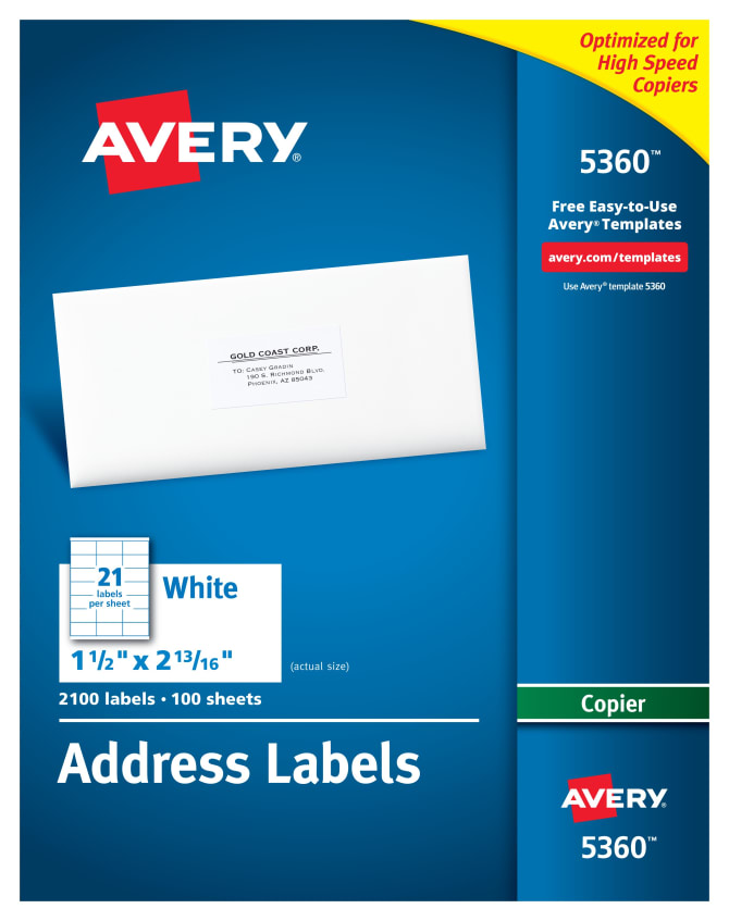 Avery Address Labels For Copiers 1 12 X 2 13162100 Labels 5360