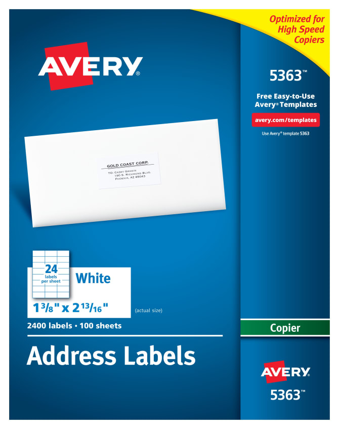 Avery Address Labels For Copiers 1 38 X 2 1316400 Labels 5363