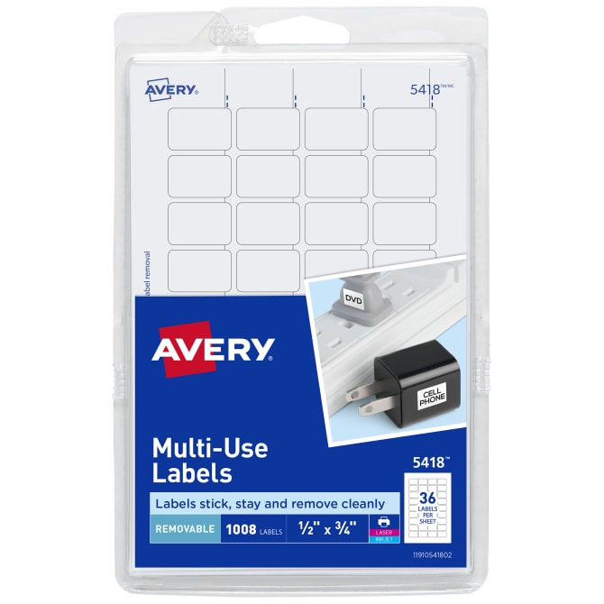 Avery Removable Labels Removable Adhesive 1 2 X 3 4 1 000 Labels 5418