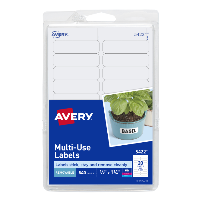 a258dff8f42a Avery® Removable Labels, Removable Adhesive, 1/2