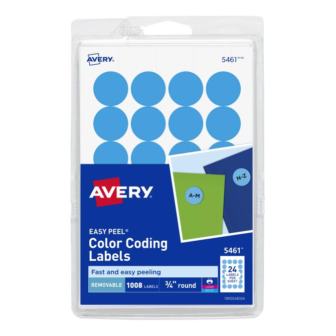Avery Removable Color Coding Labels Light Blue 1008 Labels 5461