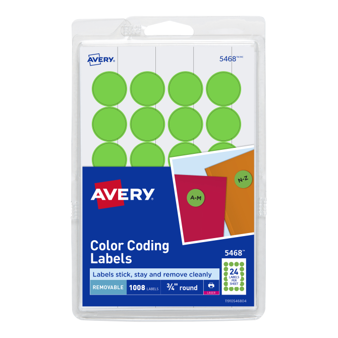 Avery Removable Color Coding Labels 34 Diameter 1008 5468